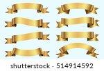 set of golden ribbons on blue... | Shutterstock .eps vector #514914592