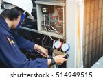 technician is checking air... | Shutterstock . vector #514949515
