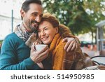 pretty senior lovers hugging... | Shutterstock . vector #514950985
