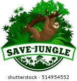 vector jungle emblem with sloth | Shutterstock .eps vector #514954552