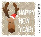 christmas deer happy face.... | Shutterstock .eps vector #514965292