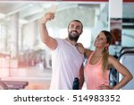 young couple taking a sefie in... | Shutterstock . vector #514983352