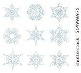 silver snowflakes. vector set...   Shutterstock .eps vector #514996972