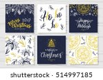 merry christmas invitation set.... | Shutterstock .eps vector #514997185