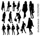 woman with bags silhouettes | Shutterstock .eps vector #515031985