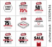 cyber monday sale label set | Shutterstock .eps vector #515039656