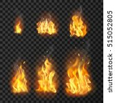 set of realistic fire flames of ... | Shutterstock .eps vector #515052805