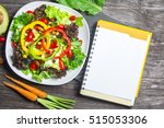 fresh vegetable salad with... | Shutterstock . vector #515053306
