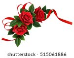 red rose flowers and silk... | Shutterstock . vector #515061886