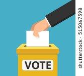 voting concept. hand putting... | Shutterstock .eps vector #515067598