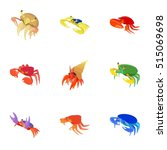 crab icons set. cartoon... | Shutterstock .eps vector #515069698
