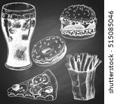 set of chalk sketches fast food ... | Shutterstock .eps vector #515085046