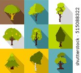 kind of trees icons set. flat...