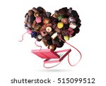 box of chocolates and a heart... | Shutterstock . vector #515099512