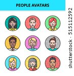 flat  line icons set of people... | Shutterstock .eps vector #515112592