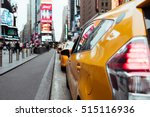 Taxi Cabs On Busy Time Square...