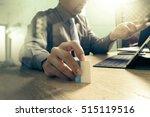 business team meeting present.... | Shutterstock . vector #515119516