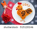 festive salad shaped rooster or ... | Shutterstock . vector #515120146