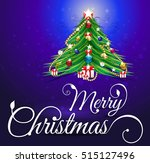 merry christmas green tree... | Shutterstock .eps vector #515127496