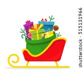 full bag of gifts from santa... | Shutterstock .eps vector #515131966