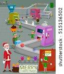 santa and elf making gift for... | Shutterstock .eps vector #515136502