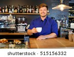 handsome barista tasting a new... | Shutterstock . vector #515156332