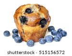 Blueberry Muffin  Isolated On...