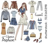 set with woman clothes. casual... | Shutterstock .eps vector #515165398