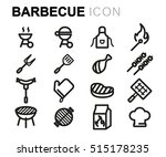vector line barbecue icons set... | Shutterstock .eps vector #515178235