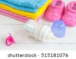 baby bottle with milk and towel ... | Shutterstock . vector #515181076