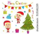 set of cute little christmas... | Shutterstock .eps vector #515181235