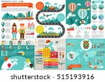 flat travel infographic... | Shutterstock .eps vector #515193916
