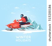 man riding on snowmobile in... | Shutterstock .eps vector #515200186
