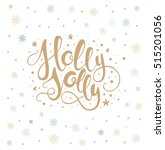 holly jolly lettering with... | Shutterstock .eps vector #515201056