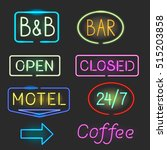 neon sign icon set with flash... | Shutterstock .eps vector #515203858