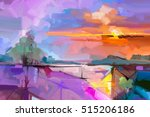 abstract oil painting landscape ... | Shutterstock . vector #515206186
