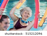smiling senior woman doing aqua ... | Shutterstock . vector #515212096