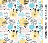 colorful vector seamless floral ... | Shutterstock .eps vector #515216338