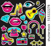 fashion patch badges with lips  ... | Shutterstock .eps vector #515222278