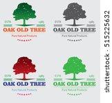 beautiful oak trees silhouette... | Shutterstock .eps vector #515225632