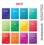 2017 calendar planner design.... | Shutterstock .eps vector #515227522