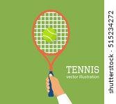 tennis player racket hit the... | Shutterstock .eps vector #515234272