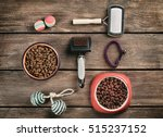 Stock photo accessories for cat on wooden background 515237152