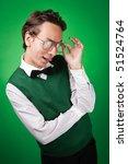 flirting nerd is trying to look ... | Shutterstock . vector #51524764