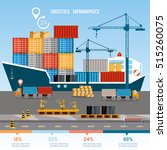 warehouse and shipping port... | Shutterstock .eps vector #515260075