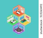 isometric office vector... | Shutterstock .eps vector #515263492