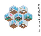 isometric office vector... | Shutterstock .eps vector #515263522