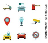 parking area icons set. flat... | Shutterstock .eps vector #515280268