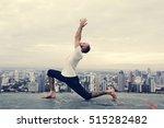 man practice yoga rooftop...   Shutterstock . vector #515282482