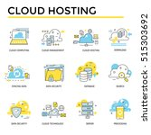 cloud hosting icons  thin line  ... | Shutterstock .eps vector #515303692